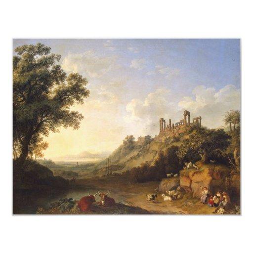 """Paisaje con ruinas del templo en Sicilia (valle de Invitación 4.25"""" X 5.5"""""""