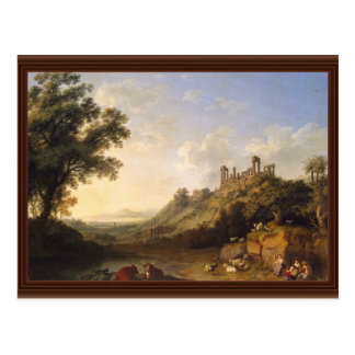 Paisaje con ruinas del templo en Sicilia valle de Postal