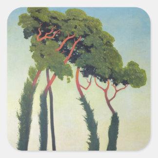 Paisaje con Trees, 1911 Calcomania Cuadradas