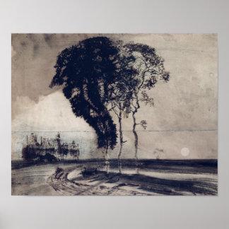 Paisaje con tres árboles, 1850 póster