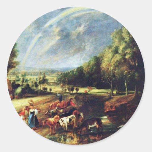 Paisaje con un arco iris de Rubens Peter Paul Pegatina Redonda