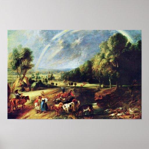Paisaje con un arco iris de Rubens Peter Paul Póster