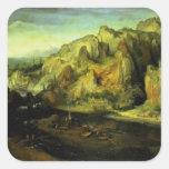 Paisaje con un ataque por sorpresa, c.1585 de la pegatina cuadrada