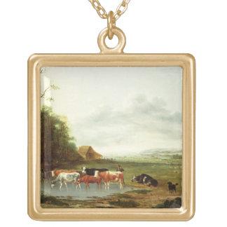 Paisaje con un ganadero y el ganado (aceite en can colgante cuadrado