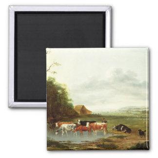 Paisaje con un ganadero y el ganado (aceite en can imán cuadrado