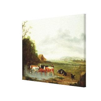 Paisaje con un ganadero y el ganado (aceite en can impresión en lona