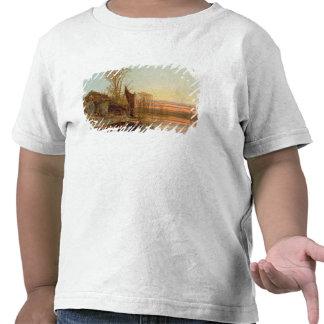 Paisaje con una cabaña arruinada en la puesta del  camisetas