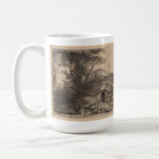 Paisaje con una cabaña y un árbol grande Rembrand Tazas