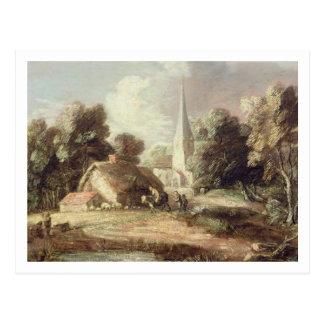 Paisaje con una iglesia, cabaña, aldeanos y postal