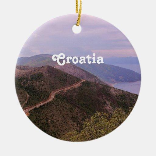 Paisaje croata adorno redondo de cerámica