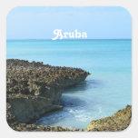 Paisaje de Aruba Pegatina Cuadrada