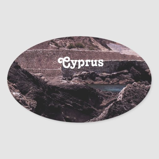 Paisaje de Chipre Colcomanias Oval Personalizadas