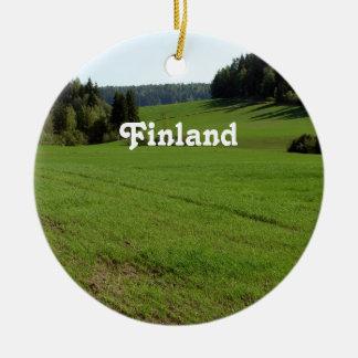 Paisaje de Finlandia Adorno Redondo De Cerámica