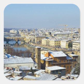 Paisaje de Florencia de Piazzale 2 Pegatina Cuadradas Personalizada