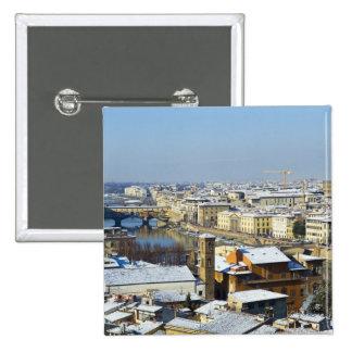 Paisaje de Florencia de Piazzale 2 Pin Cuadrado