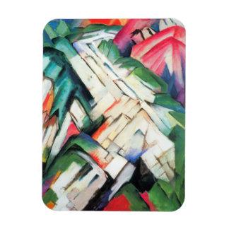 Paisaje de Franz Marc, cubismo de las montañas del Rectangle Magnet