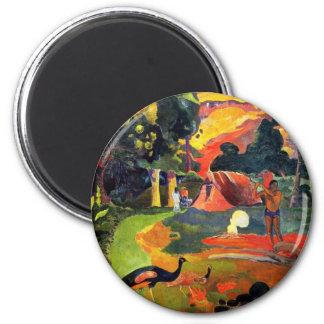 Paisaje de Gauguin con el imán de los pavos reales