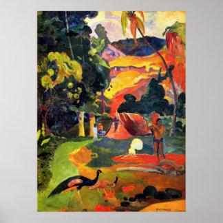 Paisaje de Gauguin con el poster de los pavos real