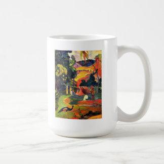Paisaje de Gauguin con la taza de los pavos reales