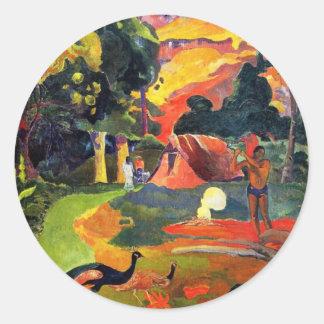 Paisaje de Gauguin con los pegatinas de los pavos Pegatina Redonda