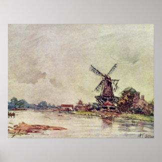 paisaje de Johan Barthold Jongkind Póster