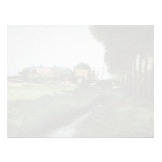 Paisaje de Juan Twachtman- con las casas y la corr Membrete