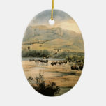 Paisaje de Karl Bodmer- con el búfalo en Missouri Ornamentos De Reyes Magos