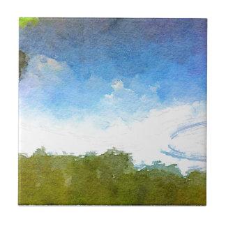 Paisaje de la acuarela del lago con los árboles y teja  ceramica