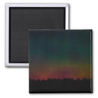 Paisaje de la aurora boreal imán cuadrado