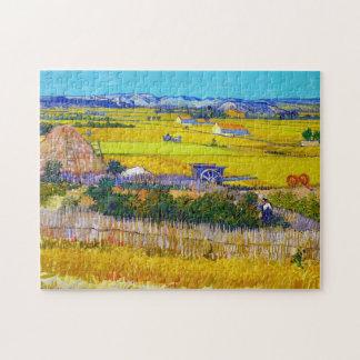 Paisaje de la cosecha con el carro azul Vincent va Puzzles Con Fotos