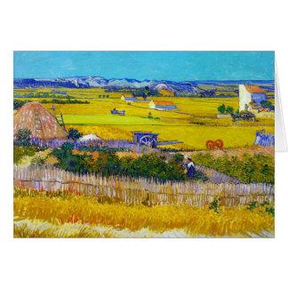 Paisaje de la cosecha con el carro azul Vincent va Tarjeta Pequeña