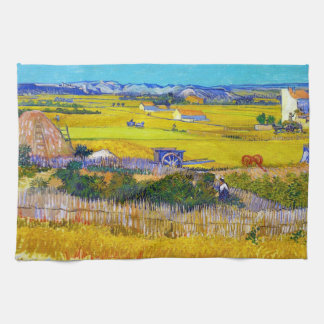 Paisaje de la cosecha con el carro azul Vincent va Toalla De Mano