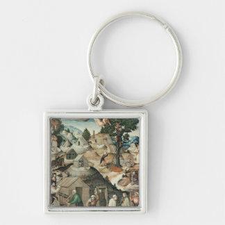 Paisaje de la explotación minera, 1521 llavero cuadrado plateado