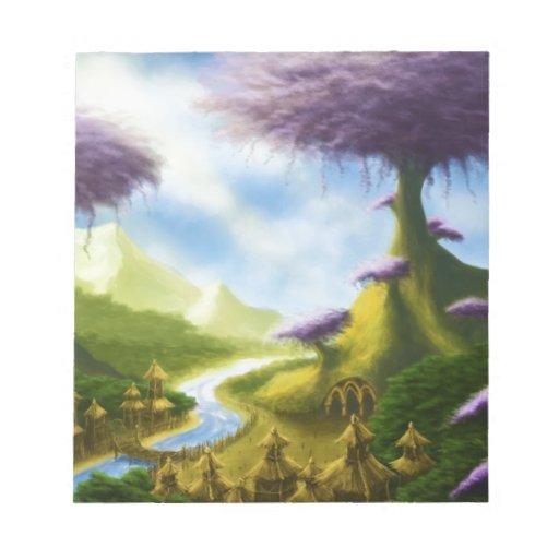 paisaje de la fantasía del paraíso blocs de papel