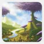 paisaje de la fantasía del paraíso pegatina cuadradas