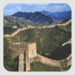 Paisaje de la Gran Muralla, Jinshanling, China Pegatina Cuadrada