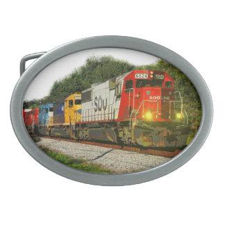 Paisaje de la locomotora del ferrocarril hebilla cinturón oval