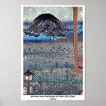 Paisaje de la luna del otoño por Ando, Hiroshige U Posters