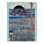 Paisaje de la luna del otoño por Ando, Hiroshige U Postales