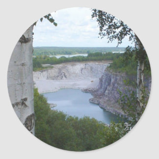 Paisaje de la mina de la piedra caliza etiquetas