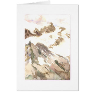 Paisaje de la montaña de la tabla tarjeta de felicitación