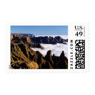 Paisaje de la montaña, parque nacional natal real sello postal