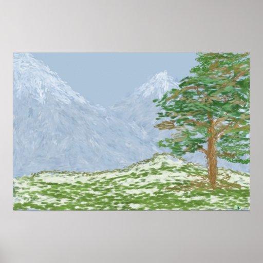 Paisaje de la montaña póster
