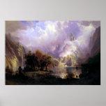 Paisaje de la montaña rocosa. Albert Bierstadt Posters