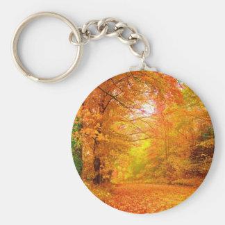 Paisaje de la naturaleza del otoño de Vermont Llavero Redondo Tipo Pin