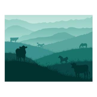 Paisaje de la niebla de la mañana del campo con tarjeta postal