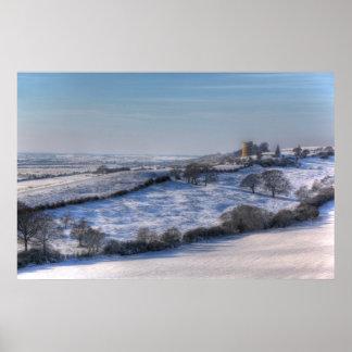 Paisaje de la nieve del castillo del XL Hadleigh Póster