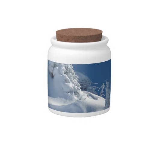 Paisaje de la nieve jarra para caramelo