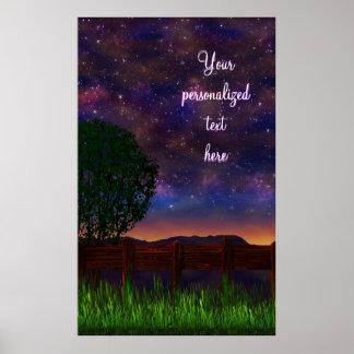 Paisaje de la noche estrellada - con el texto adap póster
