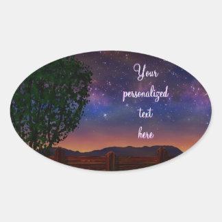 Paisaje de la noche estrellada - con el texto calcomania óval personalizadas